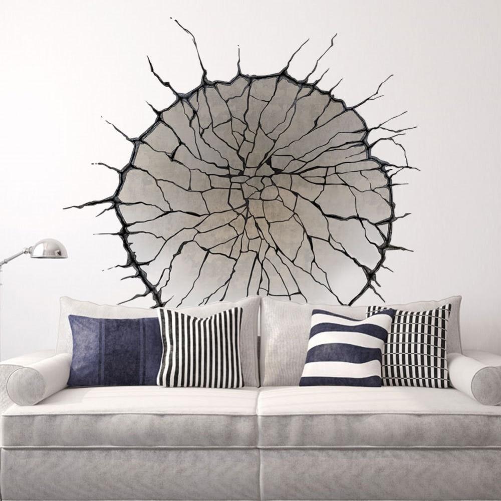 wohnzimmer wand poster : 3d Geknackt Wandkunst Wand Decor Spinnennetz Tapete Aufkleber