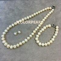 Najniższa Cena Dla 9-10mm Białe Słodkowodne perły Naturalne Biżuteria Zestaw Z Sterling Silver Earring Szpilki.