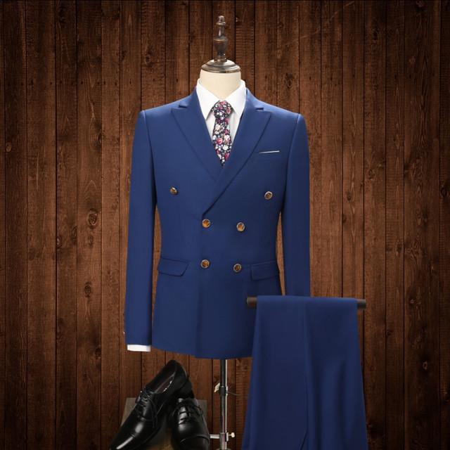 2017 (jaqueta + Calça + Colete) Azul dos homens Ternos Com Calças Dos Homens Slim Fit Vestido Formal Dos Homens da Roupa Do Desgaste Estágio 3 Peça Terno Do Casamento