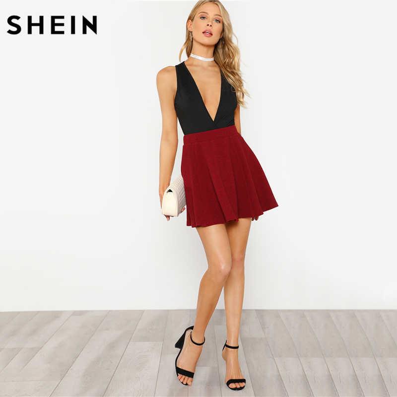 SHEIN женская комбинация с глубоким вырезом однотонный комбинезон 2018 женский летний черный глубокий v-образный вырез без рукавов обтягивающий боди