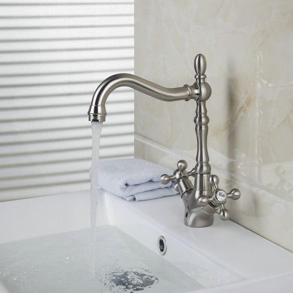 Kitchen Sink Faucet Dual Handles Basin Nickle Brushed Mixer Tap Faucet JN8632 5