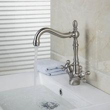 Кухонная мойка кран Двойной Ручки бассейна никель Матовый смесители кран JN8632-5