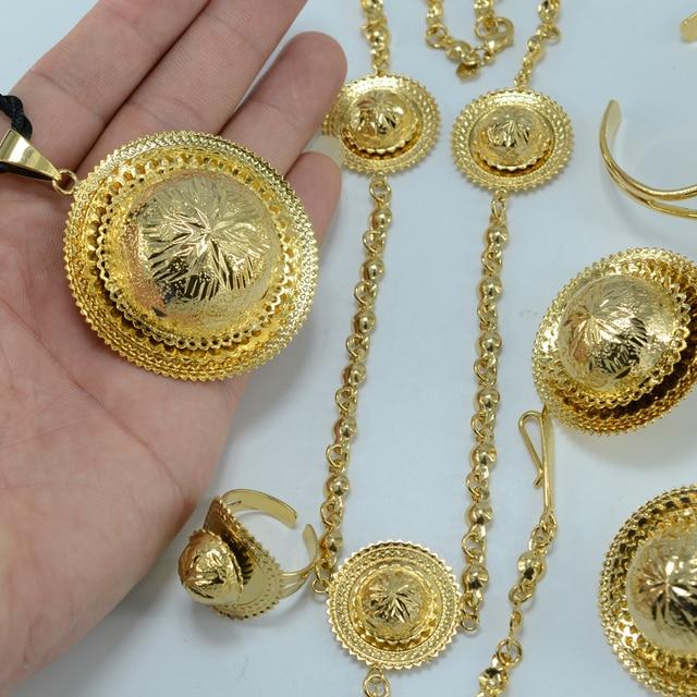 Ethiopian Bridal set Wedding  Gold Plated Ethiopia Pendant Rope/Forehead Chain/Earrings/Ring/Bangle Eritrea set Africa Items