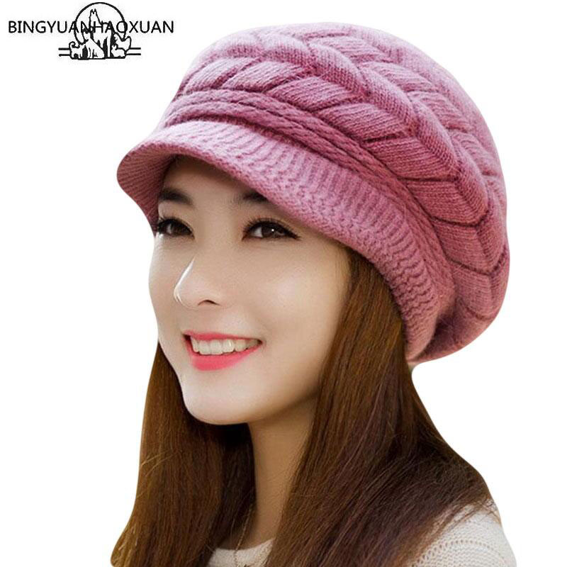 BING YUAN HAO XUAN Knitted Winter Hats For Women Ladies Beanie Girls Skullies CAPS