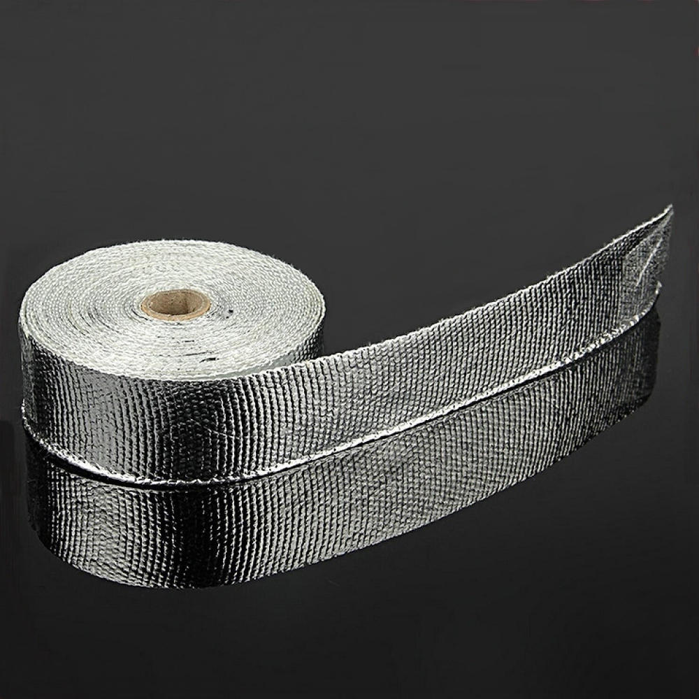 5 Meters /15 foot Aluminum Foil Fiberglass Exhaust Wrap For Moto Muffler Pipe Header Heat Resistant 6 Cable Ties