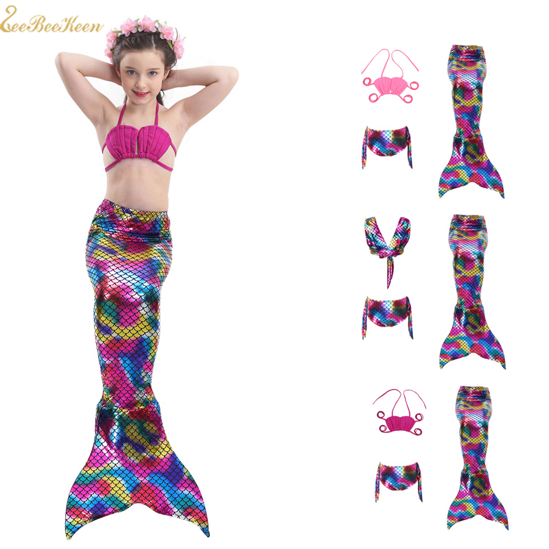 Mermaid tail For Swimm  Mermaid Tails Costumes The Little Mermaid Costume For Girl Colorful 3pcs Swim suit Kids Cosplay Clothes