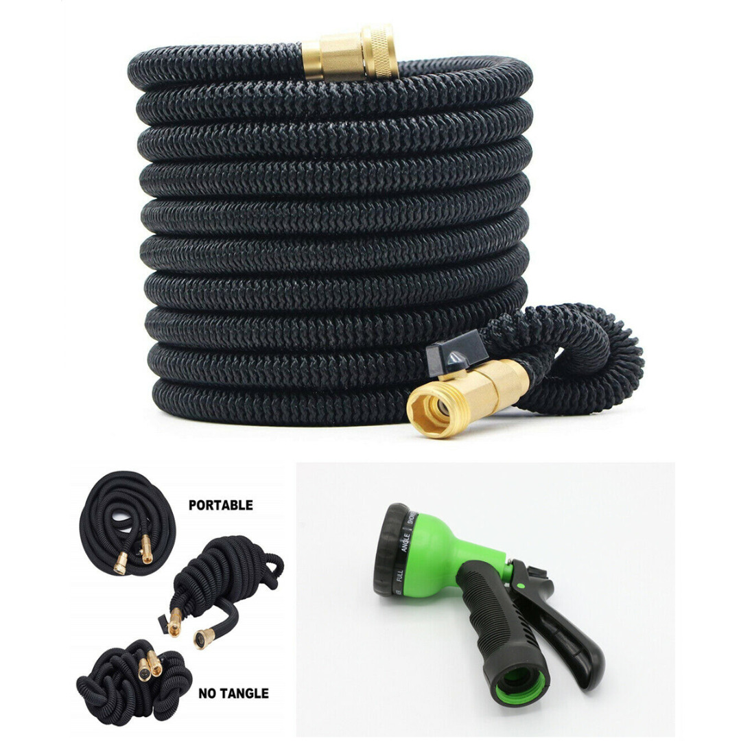 1 set 50ft Garden Hose Expandable Flexible Magic Water Hose Latex Hoses Pipe With Spray Gun To Watering