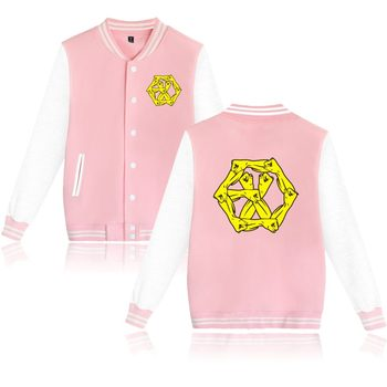 KPOP EXO EXO-M EXO-K Baseball Jacket Plus Size EXO-L Clothing For Women Men color in Pink Navy Sweatshirt EXO Uniform Clothes фото