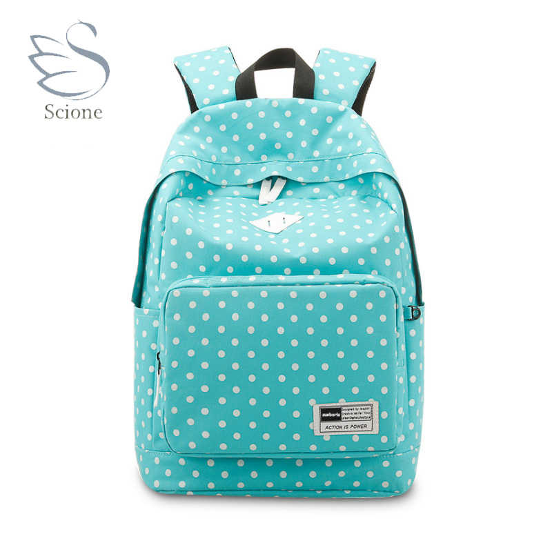 Scione Girls School Travel Sports Backpacks Dot Shoulder Leisure Bags  Korean Stylish Plain Laptop Colorful Classic 41ed248466c72