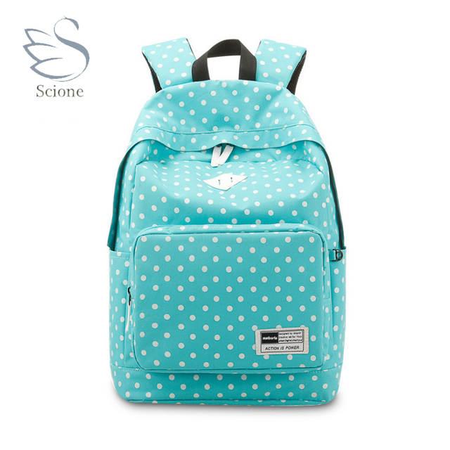 Scione Girls School Travel Sports Backpacks Dot Shoulder Leisure Bags Korean  Stylish Plain Laptop Colorful Classic 7e3ac9a2cccd2