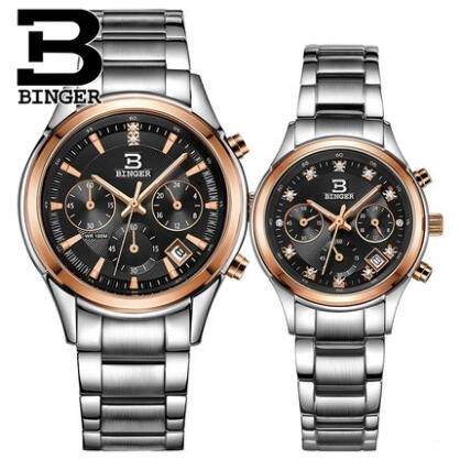 Luxury Binger Watch Lovers Couple Watches Men Date Waterproof Women Gold Stainless Steel Quartz Wristwatch ultrathin couple watches for men waterproof stainless steel watch male table women quartz watch female form valentines day gift