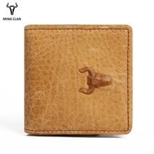Mingclan Echtes Leder Garantie Retro Design Männer Frauen Geldbörsen Kreditkarteninhaber Vintage Tasche Mini Kleine Münze Brieftaschen