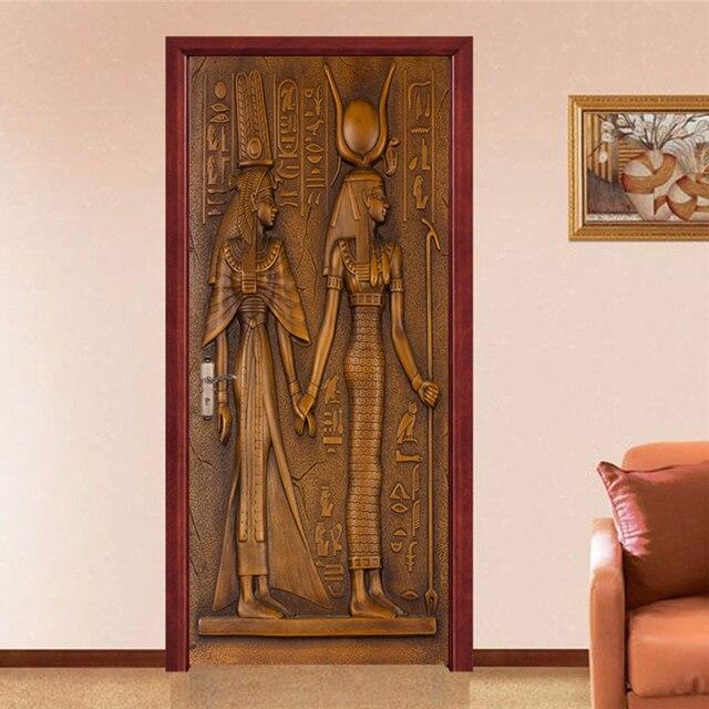 Фото европейский стиль ретро стикер двери 3d египетские скульптурные