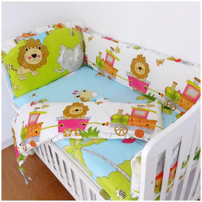Promotion! 6PCS Lion Baby Bedding Set Cot Crib Bedding Set for girls boys (bumper+sheet+pillow cover) promotion 6pcs baby bedding set cot crib bedding set baby bed baby cot sets include 4bumpers sheet pillow