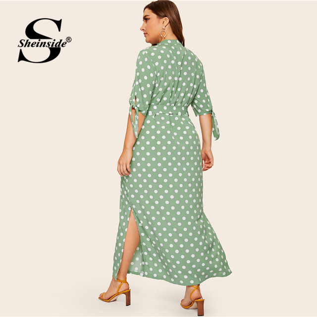 Sheinside Plus Size Polka Dot Print Straight Dress Women 2019 Summer Lace Up Half Sleeve Shirt Dresses Ladies Side Split Dress 2