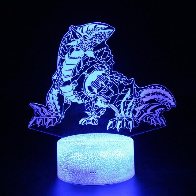Crianças Luzes Led Brinquedos Dinossauro Cor RGB Lâmpada USB Nightlight Presentes 3d Ilusão Caçador de Monstros Monstros Dragão Figura Lâmpada