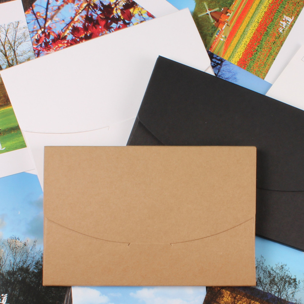 Free Shipping 10.5*16+0.5cm Vintage Kraft Paper Envelope For Postcards Greeting Card Cover Photo Box Stationery Festival Supply