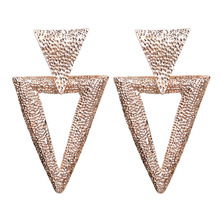 New retro womens drop earrings geometric triangle pattern 2019 metal hanging fashion jewelry
