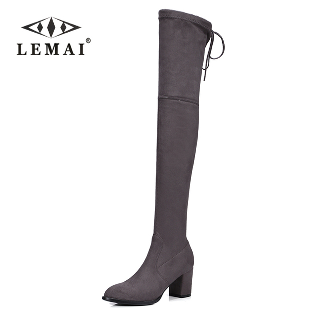 f274d5d00a4 US $59.98 |LEMAI Faux Suede Slim Boots Sexy over the knee high women snow  boots women's fashion winter thigh high boots shoes woman #34 43-in ...