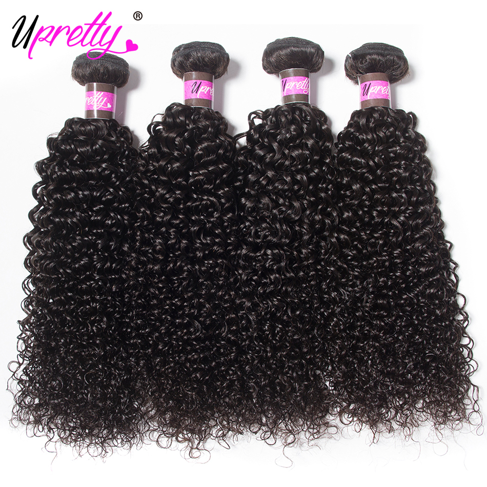 Upretty Hair Mongolian Curly Hair Weave 4 Bundles 100% Human Hair Bundles Natural Black Color Can Be Dyed Remy Hair Extension