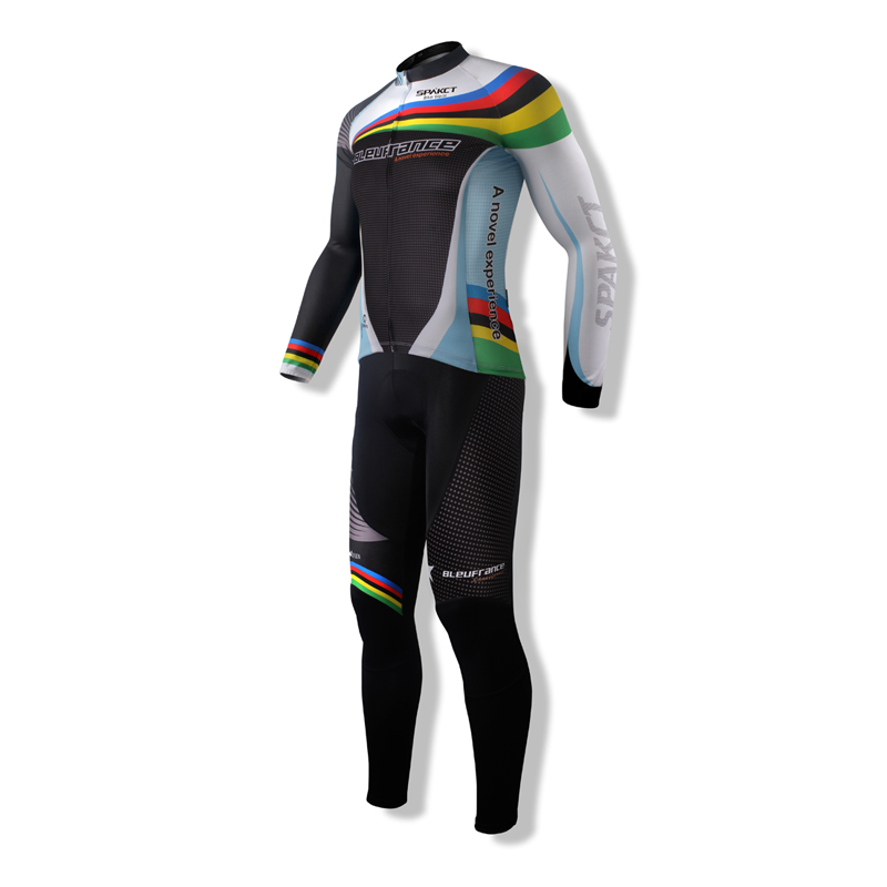 New SPAKCT Men's Sportswear Summer Cycling Suits Bike Bicycle  Long Sleeve Jersey Jacket & bIB 3D Pad Tights Trousers Clothing wosawe cycling coat bike bicycle cycle clothing long jersey jacket wind tights pants whirlwind waterproof cycling jersey 2017