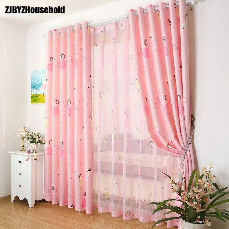 Cute cartoon custom green shading cloth curtains for living room windows dining bedroom children room princess castle