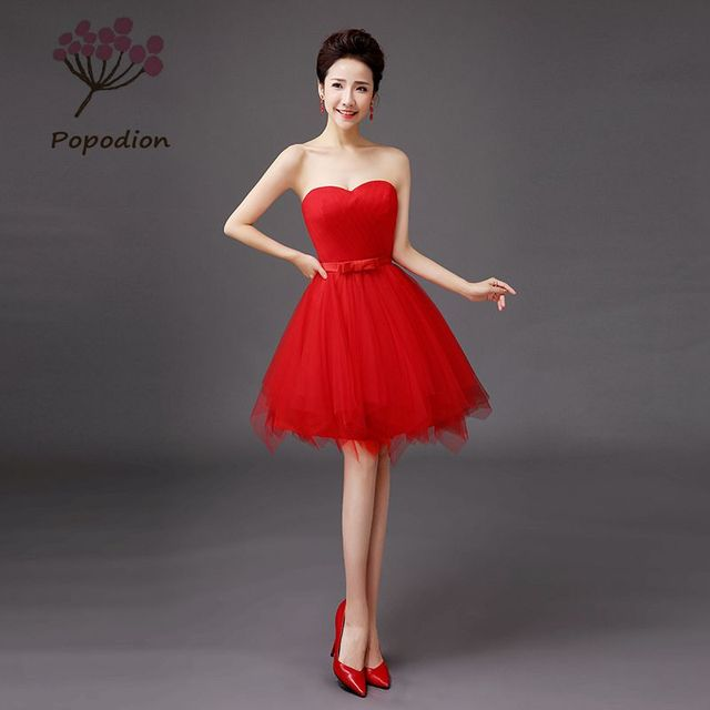 e1588ae6142 short style red strapless bridesmaid dress sister party dress plus size  dresses prom dresses ROM80040