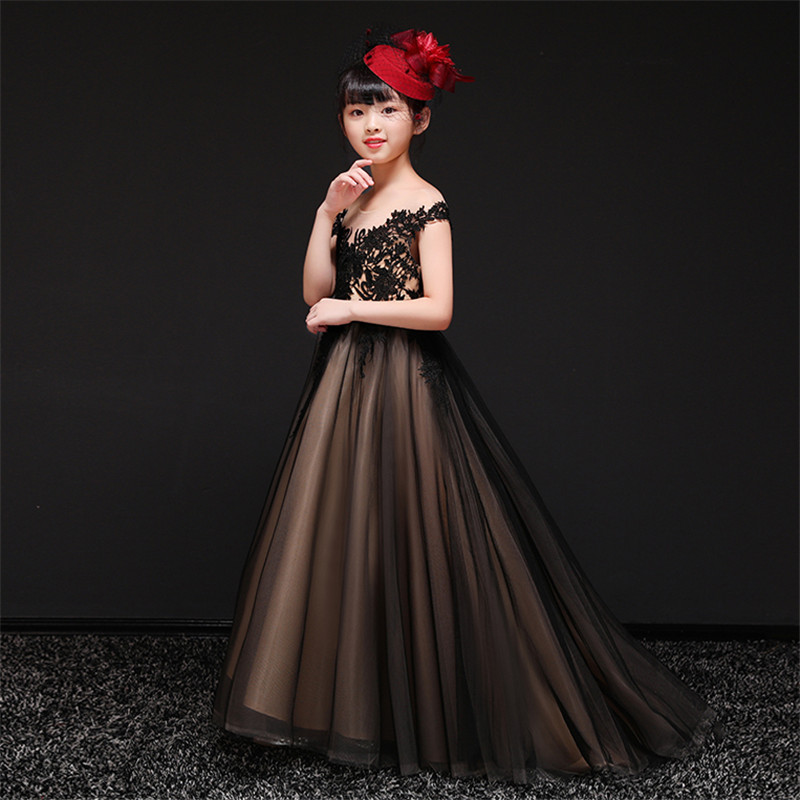 2019Summer Spring Luxury Black Elegant Children Girls Embroidery Lace Princess Tutu Dress Evening Puffy Long Tail Dress Clothes2019Summer Spring Luxury Black Elegant Children Girls Embroidery Lace Princess Tutu Dress Evening Puffy Long Tail Dress Clothes