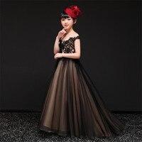 2019Summer Spring Luxury Black Elegant Children Girls Embroidery Lace Princess Tutu Dress Evening Puffy Long Tail Dress Clothes