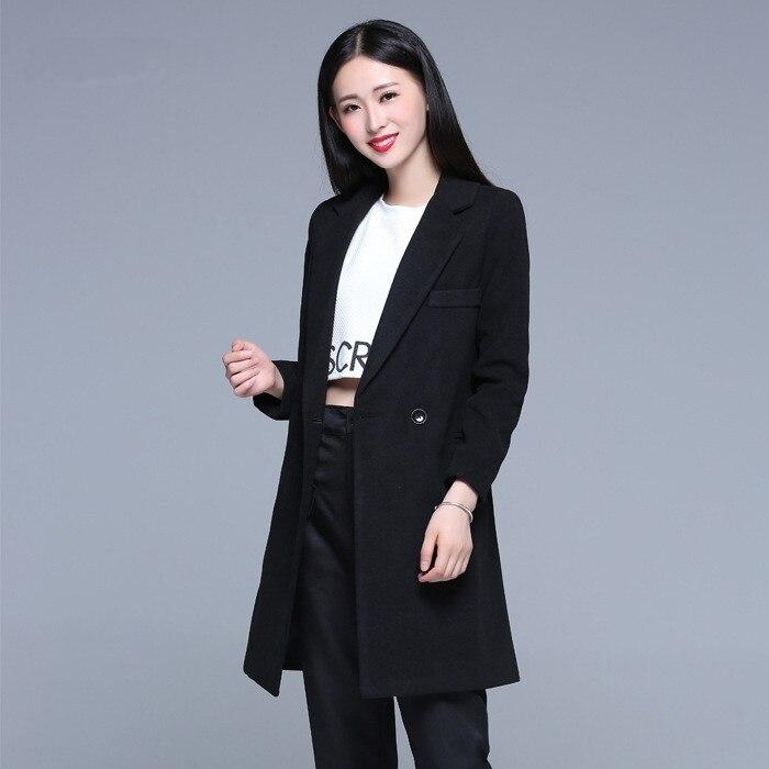 485655707fbbf Manteau Hiver 2019 Hiver Manteau femmes élégant simple bouton chaud laine  Manteau Long cachemire pardessus Beige rose noir abrigos mujer dans Laine  et ...