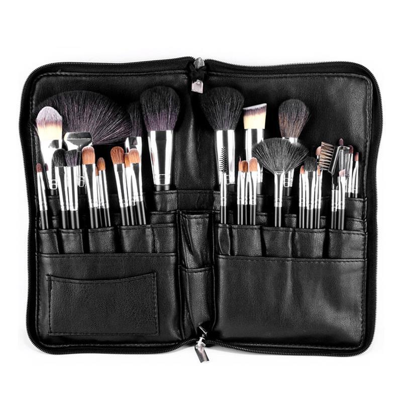Professional PVC Makeup Brushes Apron Bag Artist Belt Strap Black 28 Pockets Make Up Brush Holder Cosmetic Tools Organizer