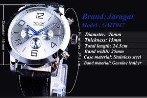 Image 3 - Jaragar 6 Blauwe Handen Display Mode Ontwerp Silver Case Mannen Horloges Topmerk Luxe Lederen Band Automatische Polshorloge