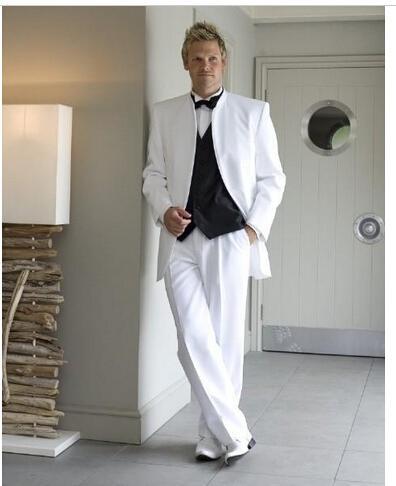 58e37b245be33 Blanco venta al por mayor trajes para hombre para la boda del Collar del  soporte de