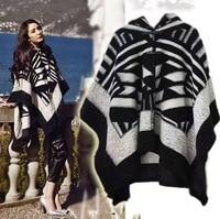 Hot sale brand poncho and capes women winter scarf shawl ladies Vintage plaid knit wrap Cashmere female echarpe pashmina poncho