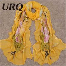 Long Chiffon Silk scarves Designer Woman Fashion New Design Peacock Flower print scarves P5A16280
