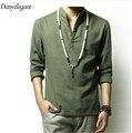 2017 Китайский стиль льняная рубашка мужской vintage мужская clothing плюс размер жидкости с длинным рукавом рубашки осень свободные топ рубашки