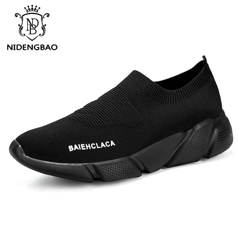 Summer Men Casual Shoes Breathable Mesh Slip On Male Fashion Footwear Slip on Comfortable Leisure Shoes Men Black Sock Sneakers 6