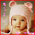 1hat pink ear Lovely Christmas hat cap Bowknot Winter Earflap infant &Toddler for baby Newborn girls Warmer Photography