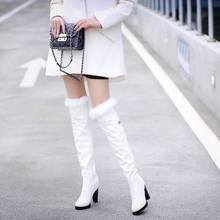 2016 inverno novas botas de salto alto lazer saltos elegantes sexy sapatos femininos botas de neve quente dedo do pé redondo salto fino botas de couro T703 6