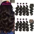 7A Brazilian Body Wave 4 Bundles With Closure Soft Human Hair Weave Bundles With Closure Mink Brazilian Virgin Hair With Closure