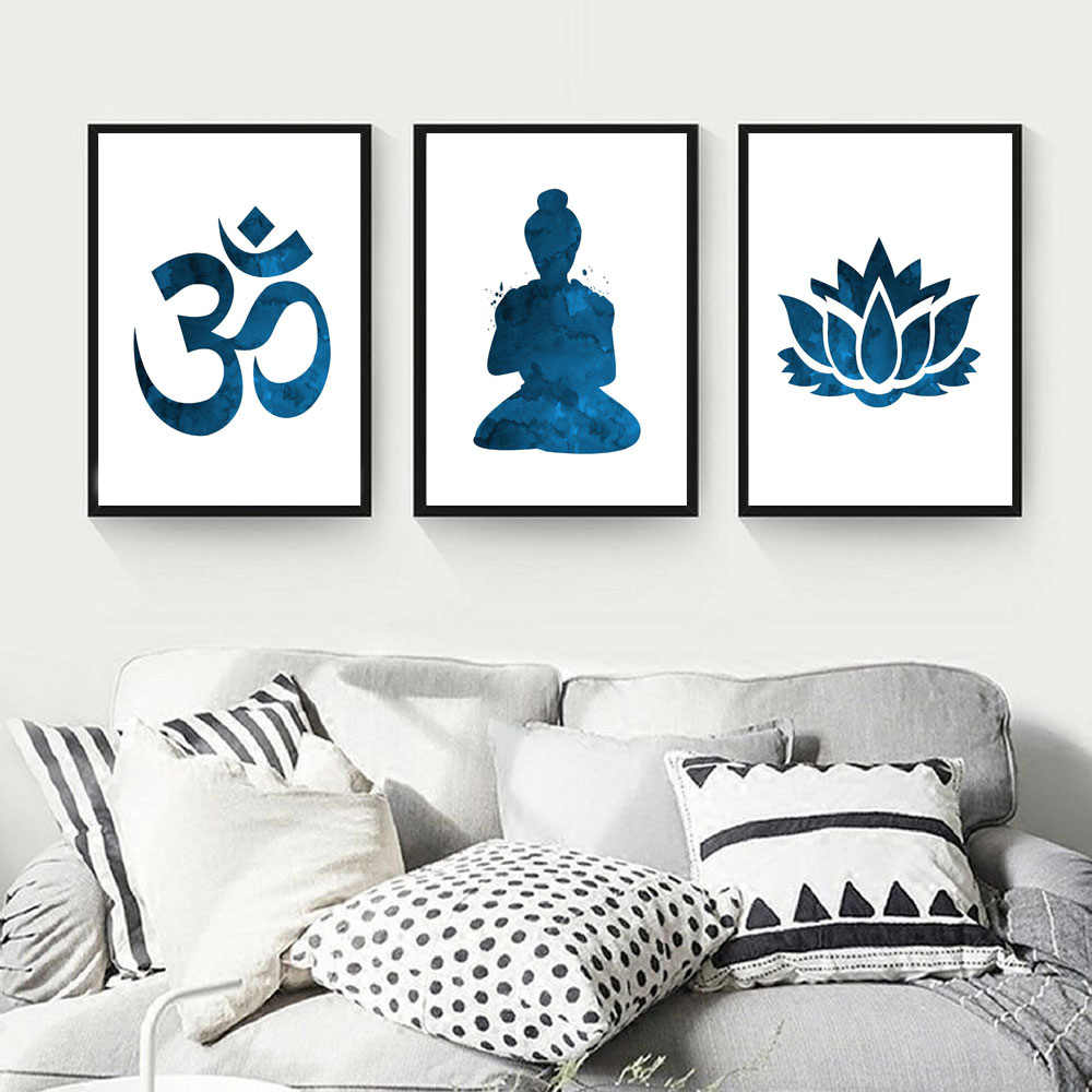 Meditation Canvas Painting Abstract Buddha Statue Lotus Poster Buddha Buddhism Prints Poster For Living Room Home Decor Wall Art