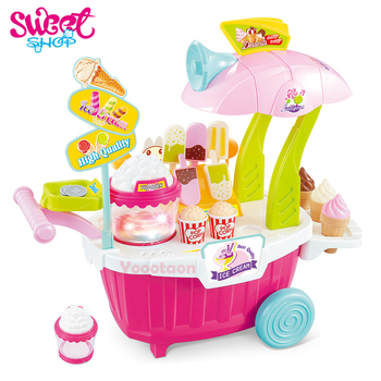Pretend play girls toys Ice cream cart kids kitchen toys mini miniature food educational toys for children play food baby toys ice cream cart toy