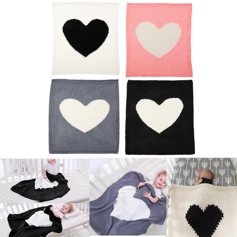 Cute Baby Blankets Heart Shape Kids Knitting Blanket Crib Bedding Quilt Swaddle Wrap Play Mat Baby Blankets Children Bath Towel free shipping infant children cartoon thick coral cashmere blankets baby nap blanket baby quilt size is 110 135 cm t01 page 5