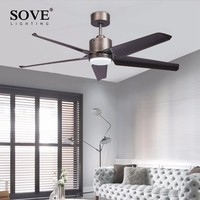 Sove Modern LED Without Light Ceiling Fans With Lights Remote Control Bedroom Dining Room Home Ceiling Light Fan Lamp 220v