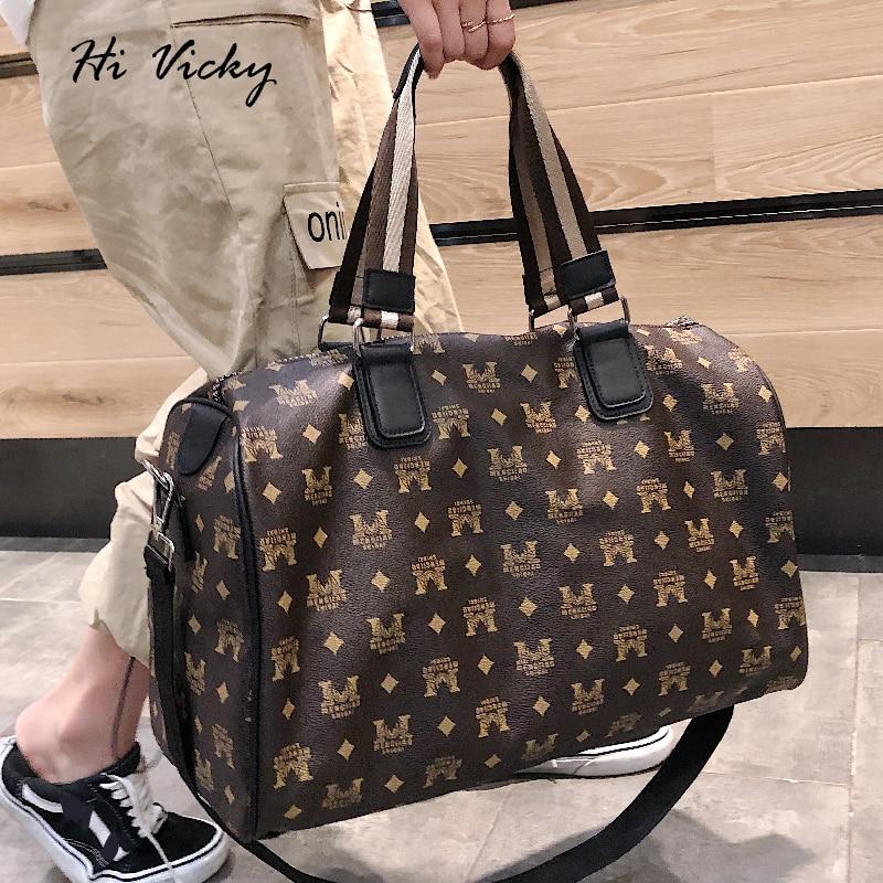 Brand Travel Bags WaterProof Large Capacity Hand Luggage Traveling Bag 2019 Fashion Women Weekend Travel Duffle Bag PU Handbags