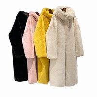 Faux fur Fur Coat Sheep Shearing Fur Coat Women Fur Collor Long Wool Jacket 2019 Winter Coat Women Hooded Tops Plus Size