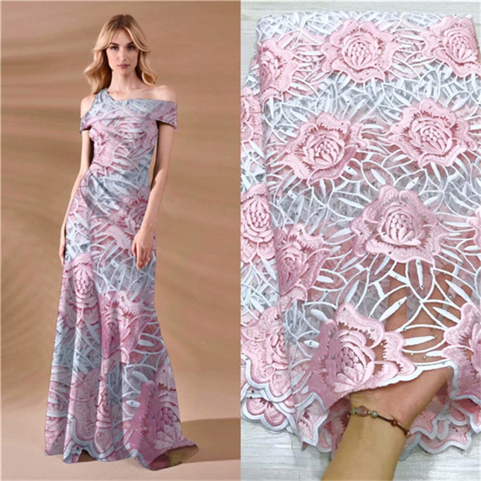 2019 Latest Design French Nigerian Guipure setones Lace Fabric High Quality Tulle African Laces Fabric Wedding