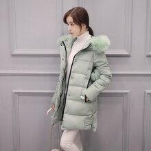2016 зимние дамы пальто большой шерстяной воротник пуховик в длинный участок толщиной хлопок 20 25-30-35 лет