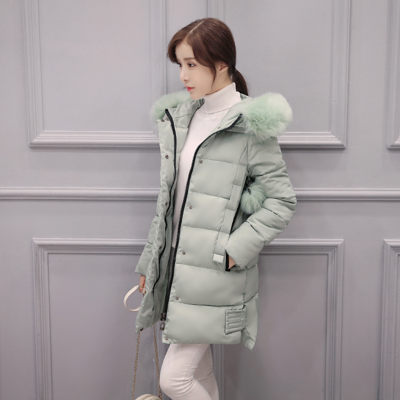 2017 winter ladies coat large wool collar jacket in the long section of thick cotton 20 25-30-35 years old the little old lady in saint tropez