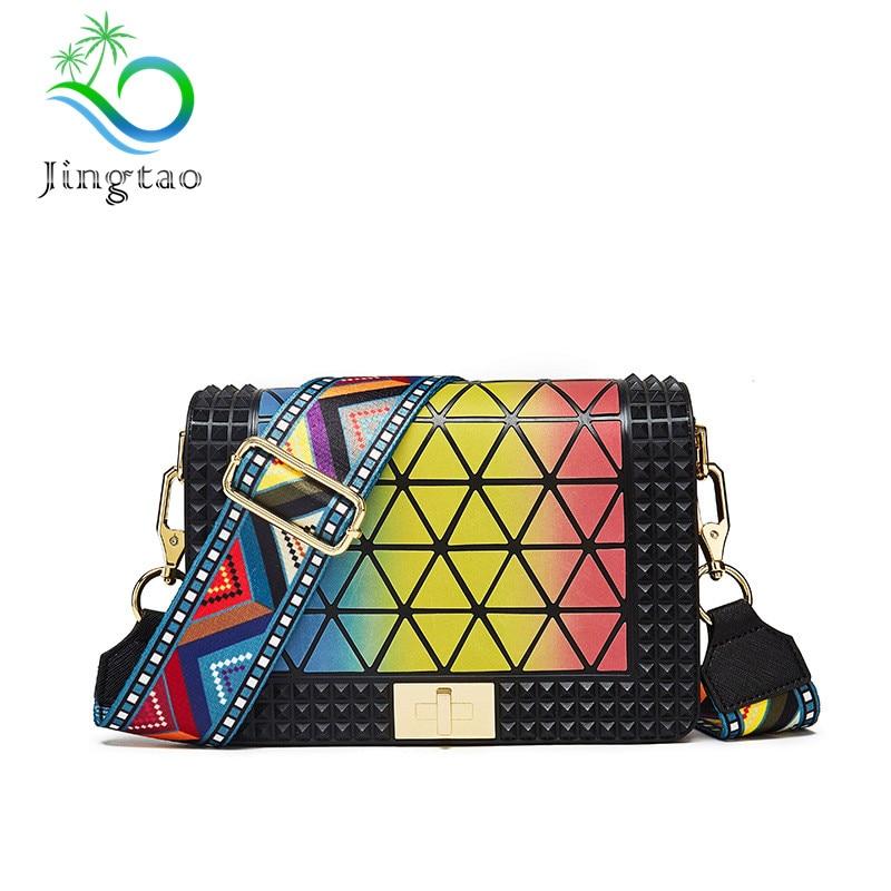 High quality bag female 2018 summer new shoulder handbags wide webbing Korean retro small square bags handbag sequin handbag